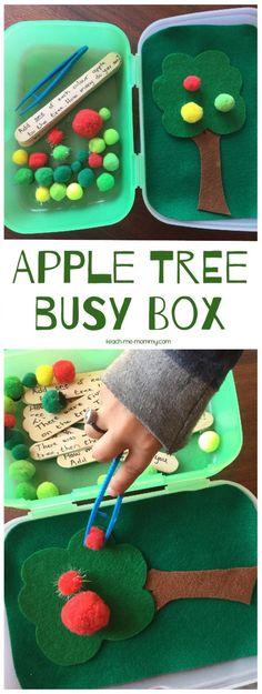 A cute quiet time activity for fall- an apple tree busy box! Easy to assembly at home and is a great way to work on fine motor skills, color sorting and more! Fall Preschool, Toddler Preschool, Toddler Crafts, Preschool Activities, Quiet Time Activities, Apple Activities, Autumn Activities, Physical Activities, Tree Study