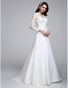 A-Line+V-neck+Court+Train+Satin+Tulle+Wedding+Dress+with+Appliques+by+LAN+TING+BRIDE®+–+GBP+£+397.35