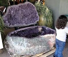 Amethyst - This Amethyst Geode was displayed at the Tuscon Gem show several years ago. Although one couldn't sit in, I wouldn't mind spending time between the two halves just absorbing the vibrations : ) Blessings, Lourdes Crystals Minerals, Rocks And Minerals, Crystals And Gemstones, Stones And Crystals, Healing Stones, Crystal Healing, Soul Healing, Gem Show, Amethyst Geode