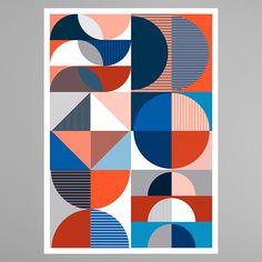 Copenhagen based female design team Hvass & Hannibal work across art direction, branding, illustration and conceptual spatial design. Geometric Patterns, Geometric Shapes, Abstract Pattern, Print Patterns, Geometric Poster, Outline Artists, Art Conceptual, Impression Textile, Design Art