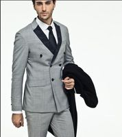 Custom 3 pieces Side Vent Light Grey Suit Groom Tuxedos Slim Fit Double breasted Men Holiday Wear Custom Made(Jacket+Pants+Tie)