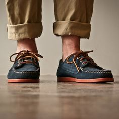 Designed in Chicago, handmade in Maine // Oak Street Bootmakers - Navy Suede Red Brick Sole Trail Oxford