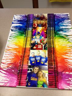 melted crayon art I made my friend with pictures. :)
