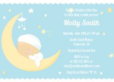 Over The Moon Boy - Baby Shower Invitations. Visit www.candlesandfavors.com for personalized invitations, thank you notes and party favors!!!