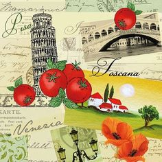 Italian Collage of Landscapes Paper Napkins for Decoupage .  Buy your decoupage supplies at Decoupage Designs USA