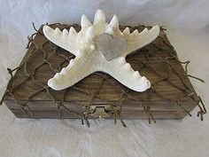 Rustic Stained Aged His Hers Divided Wedding Ring Box Nautical Starfish Net