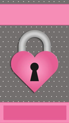 iBabyGirl Pink Locked Heart Valentine Wallpaper.