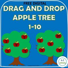 FREEBIE Drag and Drop 1-10 Apple Tree Teaching Letter Sounds, Teaching Letters, Fun Math Worksheets, Learning Resources, Lined Writing Paper, Teaching Style, Teaching Ideas, Math Practices, Writing Numbers