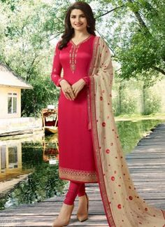 Prachi desai red partywear straight cut suit online which is crafted from satin georgette fabric with exclusive embroidery and stone work. This stunning designer straight cut suit comes with santoon bottom and georgette dupatta. Eid Dresses, Pakistani Dresses, Indian Dresses, Indian Outfits, Shadi Dresses, Anarkali Dress, Churidar Suits, Patiala, Salwar Kameez