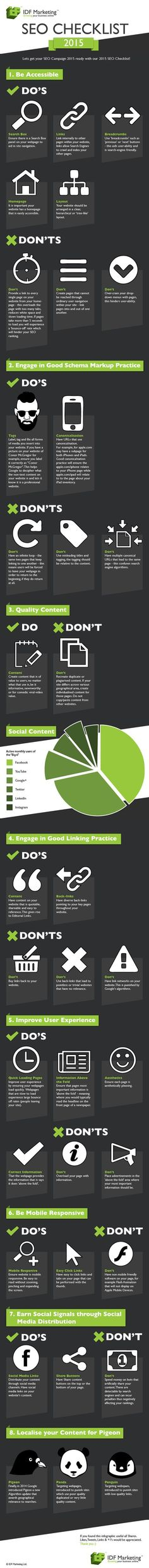 Search Engine Optimization Checklist 2015. This infographic will prove most useful therefore for the coming year and the good practice contained within it are best practice for the SEO industry as it stands today. #searchengineoptimization(seo),