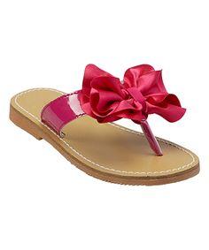 Fuchsia Floral Bow Leather Sandal