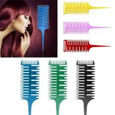 6 Colors Sectioning Highlight Comb Professional Easy To Use Weave Weaving Comb Hair Dye Styling Tool For Salon Hot Selling Weaving Tools, Hair Color Techniques, Balayage Highlights, Styling Tools, Diy Hairstyles, Dyed Hair, Red And Blue, Hair Care, Feelings