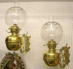 Pair Victorian Wall Oil Lamps. brass. good condition. English. circa 1900