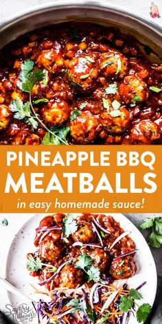 Pineapple BBQ Meatballs are delicious homemade meatballs smothered in a pineapple BBQ sauce you can whip up from scratch in minutes. Serve them over rice with an Asian-inspired coleslaw for a healthy family meal. Ground Turkey Dinners, Ground Beef Recipes For Dinner, Dinner With Ground Beef, Healthy Ground Turkey Dinner, Ground Pork Recipes Easy, Health Ground Beef Recipes, Ground Chuck Recipes Dinners, Chicken Dinner Party Recipes, Recipes Using Ground Turkey