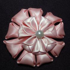 Folded Rose lg.  Kanzashi Baby Baptism Barrettes