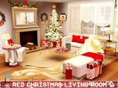 Red Christmas Living Room by Memory Sonate - Sims 3 Downloads CC Caboodle