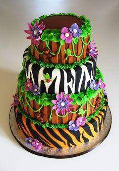 love this cake- jungle themed for grad to kids k- grad party