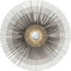Inspired by a mid-Century antique. A mini mirror is surrounded by an antiqued brass geometric starburst radiating three layers of steel spring wires. Brass drippings create a bright textural circle at the center.