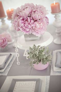 blush pink and gray wedding tablescape and centerpiece ~  we ❤ this! moncheribridals.com