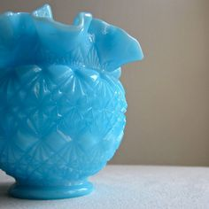 Blue Milk Glass Vase -- Old Virginia Glass by Fenton