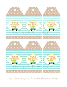 Printable Favor Tags  Surfer Dude Collection by PetitePartyStudio, $6.00