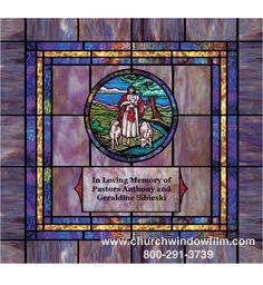 Custom designed window film design with added medallion and custom name plate Stained Glass Window Film, Church Windows, Window Films, In Loving Memory, Custom Design, Plate, Gallery, Decor, Pastor
