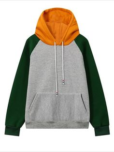 Women Casual Mix-color Long Sleeve Hooded Hoodie