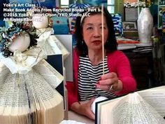 """How to make Recycled Book Angels from Library Discard Books Part 1"""