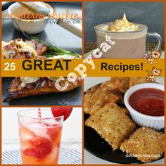 25 Copycat Recipes based on our favorite restaurants. #recipes