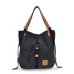 Women Canvas Casual Multifunctional Microfiber Leather Large Capacity Handbag Shoulder Bags Backpack