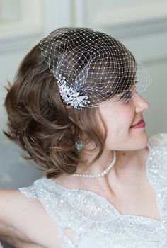 Bridal Veil and Bridal Comb Bandeau Birdcage Veil Blusher