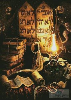 Painted torah plates - In this oil painting you can get a feeling for a religous jewish atmosphere, thanks to the beautifully looking old books, old lamp and some religious scrolls. Jewish Crafts, Jewish Art, Religious Art, Religious Paintings, Cultura Judaica, Arte Judaica, Juan Xxiii, Messianic Judaism, Religion