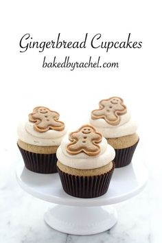 Easy homemade gingerbread cupcakes with brown sugar cinnamon cream cheese frosting recipe from @bakedbyrachel
