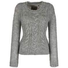 Fat Face Cable Box Hand Knitted Jumper, Grey, L ($48) ❤ liked on Polyvore