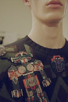 Beaded robot backstage at MSGM AW15 Milan. See more here: http://www.dazeddigital.com/fashion/article/23286/1/msgm-aw15