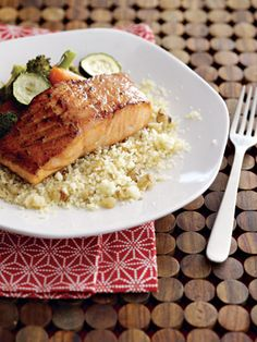 Maple Salmon Over Nutty Couscous