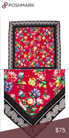 9432fb779de1 Tiffany & Co. Floral Scarf Red silk floral scarf with contrasting tribal  printed border,