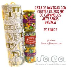 Regalo dulce de Navidad! Caja con tres botes de caramelos Bawaca. Pide tu caja en www.bawaca.com