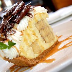 Banana Cream Pie With Caramel Drizzles And Chocolate Sauce