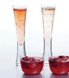 Cocktail de champanhe de sorvete de framboesa