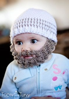 Free pattern for a crochet bobble beard to attach to your favorite beanie, in sizes extra small, small, medium and large. Linked to a free multi-sized beanie pattern. Because who doesn't lov a crochet beard hat! Crochet Beard, Diy Crochet, Crochet Crafts, Crochet Projects, Fun Projects, Knitted Beard, Funny Crochet, Unique Crochet, Modern Crochet