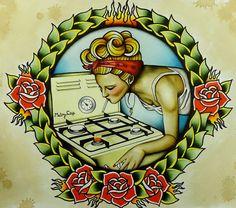 Traditional American Tattoo Style Original Smoking Girl Painting Print Poster 11x14