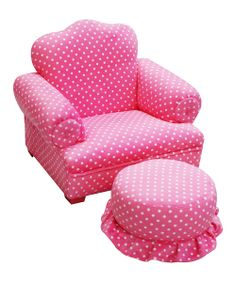 Pink Polka Dot Little Queen Chair & Ottoman | Daily deals for moms, babies and kids