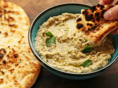 The Best Baba Ganoush . I love baba ganoush (eggplant dip). And that bread, awesome.