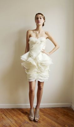 Attention, beanpole brides: this floaty, many-layered organza number adds instant curves. #etsyweddings