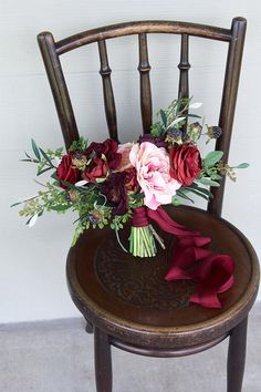Burgundy Deep Red Salmon Pink and Light Peach Silk Flower