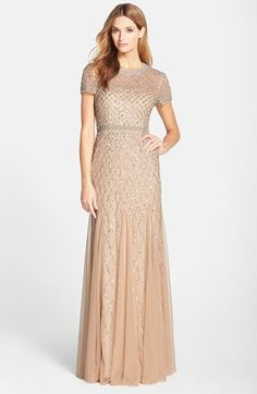 Beaded champagne gown with sleeves | Mother of the Bride Dresses | Adrianna Papell gown from Nordstrom featured on Dress for the Wedding