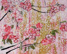 Cherry Blossoms Painting - 201713 Cherry Blossoms 15 by Alyse Radenovic