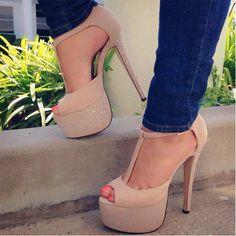Fashion beige high heel #sandals