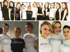 De modellen van Holland's Next Top Model 2015 tijdens The Model Body Workout presentatie met Kasia Rain